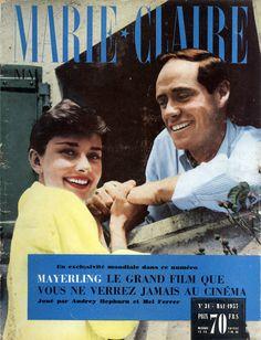 Audrey Hepburn et Mel Ferrer en couverture de Marie-Claire en 1957, photo de Willy Rizzo