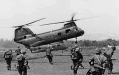 Sea Knight Helicopters In Vietnam | CH-46As from Medium Marine Helicopter Squadron (HMM) 265 carries ...
