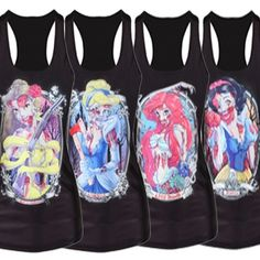 D E S C R I P T I O N Awesome zombie princess graphic racerback tank All over digital printed design in Ariel, Belle, Cinderella and Snow White    D E T A I L S Size: One Size Material: Spandex   M E A S U R E M E N T S (Unstretched) Length: 25.5 inches	 Chest: 32 inches Waist: 25 i...