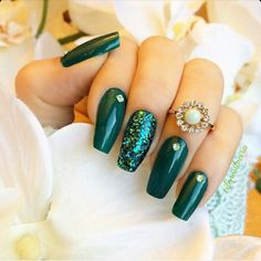 Dark Green Square Tip Acrylic Nails w/ Rhinestones & Glitter