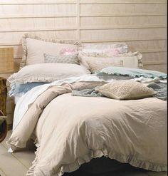 Shabby Natural Linen Rags & Ruffles King Bed Doona Duvet Quilt Cover Set Chic