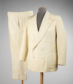 Suit - MMA Manufacturer: Goodall-Sanford Department Store: Roger Peet (American) Date: 1945–50 Medium: wool, synthetic purchased the patent for a tropical weight mohair-cotton blend fabric developed by Goodall called the fabric Palm Beach cloth and sold it directly to tailors and manufacturers. In 1931, the company also began to produce suits from the cloth. The washable suit was comfortable to wear and the Palm Beach suit became the staple of the well-dressed man's summers wardrobe.