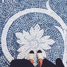 Gorgeous blue and white mosaic floor with tiny tesserae.