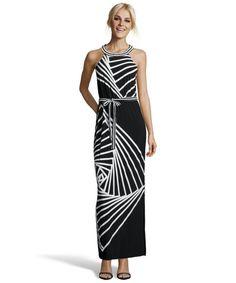 eeeb1d00c8 BCBGMAXAZRIA   black and ivory stretch jersey striped halter maxi dress    style   328872801 (