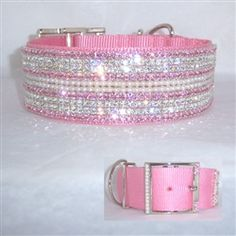 Gorgeous pastel pink nylon dog collar, BIG 2 inches wide with rows of pearl, pastel pink (light rose) and clear crystal. Heavy stitching and nickel plated buckle and D-Ring. Perfect for big girl dogs.