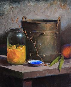 Canned Peaches by Kathy Tate Oil ~ 14 x 11