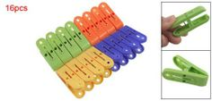 """Amico Antislip Hanging Clothes Pegs Clips Plastic Clothespins 16 Pcs by Amico. $4.79. Each Size: ~5.7 x 1.8 x 3.5cm/2.2 x 0.7 x 1.4"""" (L*W*H). Color: Green, Blue, Orange, Yellow; Weight: ~92g. Material: Hard Plastic, Metal; Quantity: 16 Pcs. Product Name: Clothes Clip. Package Content: 16 x Pcs Clothes Clips. Use this Practical Clothes Pegs to clip the small things at random. Help you to set clothes, socks and trousers on the clothes-hanger firmly and avoid dropping."""