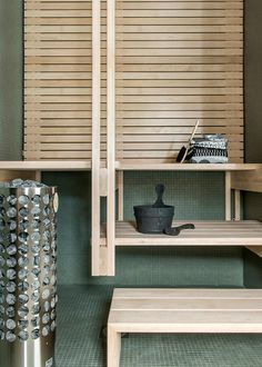 Marimekko | Villa Housing Fair: beautiful shelving! great for a spa bath.