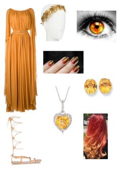 """Kalio Goddess of Fire, Clouds, And Pineapples"" by calm-my-fears ❤ liked on Polyvore featuring Elie Saab, Ancient Greek Sandals, Jennifer Behr, Kevin Jewelers and Ross-Simons"