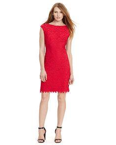 Lace Cap-Sleeve Dress - Lauren Short Dresses - RalphLauren.com