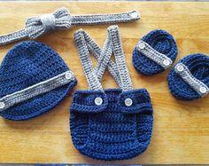 Crochet bebé traje rojo y azul marino foto Prop fotos recién