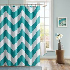 """Features:  -Libra collection.  Product Type: -Shower curtain.  Material: -Polyester.  Pattern: -Chevron.  Hooks Required: -Yes.  Gender: -Neutral. Dimensions:  Overall Height - Top to Bottom: -72"""".  O"""