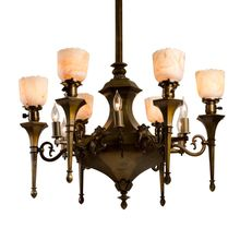 Stunning 12-Light Classical Revival Torch Chandelier c1920