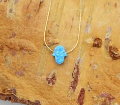 Small Hamsa opal necklace 10X8mm light blue Hand Hand of by GivonJewelry - 25.00$