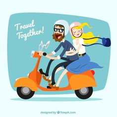 Travel together! Motorcycle Icon, Motorcycle Posters, Motogp, Vector Graphics, Vector Art, Vespa Illustration, Banners, Couple Cartoon, Electric Car