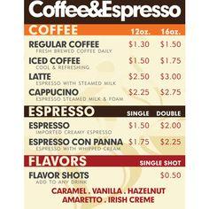 Coffee Shop Menu ❤ liked on Polyvore