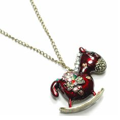 Ruby horse necklace with colourful stones