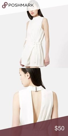 NWT Topshop White High Neck, Open Back Romper NWT Topshop White High Neck, Open Back Romper Retailed for $95 100% Polyester Size 12 (Runs like typical topshop size 12) Topshop Other