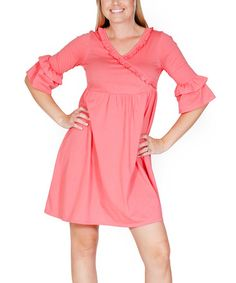 Another great find on #zulily! Coral Avery Wrap Dress - Women by Jelly the Pug #zulilyfinds