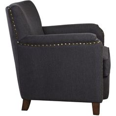 Uttermost Finchly Deep Gray Fabric Accent Armchair ($803) ❤ Liked On  Polyvore Featuring Home