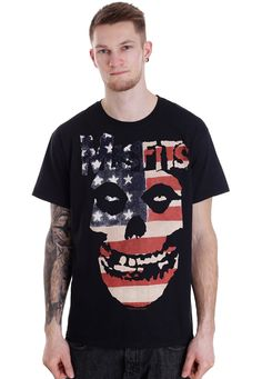Misfits - USA Skull - T-Shirt - Official Merch Store - Impericon.com UK