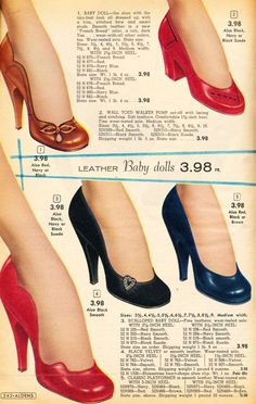 Babydoll pumps heels vintage shoe photo print ad illustration 50s red blue tan black  I want the two styles on the far left. ;) Gorgeous! 1956-57 shoes. #1950s #shoes #vintage