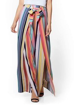 New York & Co. 7th Avenue Pant - Striped Side-Tie Palazzo