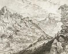Pieter Bruegel d. Ä. (Stecher: Jan und Lucas van Duetecum) «Die große Alpenlandschaft», 1555-56, Radierung und Kupferstich. (Bild: Albertina, Wien)
