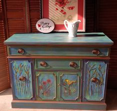 hand painted credenza cabinet #paintedfurniture