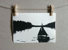 Sailboat  Hand Printed  Linocut by WoodenSpoonEditions on Etsy, $30.00