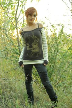 Eco Band-Gear -- DIY SLASH Long-Sleeve Off the SHoulders STRiPeD Shirt Top OOAK