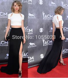 white and black evening Dresses Celebrity Formal Party Dresses Two Pieces http://www.aliexpress.com/store/product/2014-New-Fashion-Two-Piece-Open-Slit-Black-And-White-Celebrity-Prom-Evening-Dress-Sleeves-ACM/1055023_32222473988.html