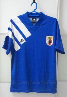 Japan Home football shirt 1991 - 1993 Vintage Jerseys, Vintage Football, Vintage Shirts, Team Shirts, Soccer Shirts, Adidas Football, Football Jerseys, Football Kits, Football Cards
