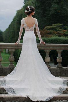 sareh nouri bridal fall 2016 long sleeves sweetheart illusion jewel neck lace wedding dress (miriam) bv train elegant romantic