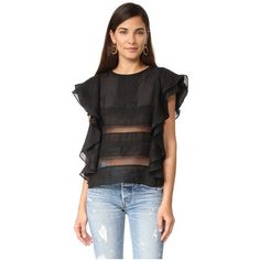 Rebecca Minkoff Camel Top featuring polyvore women's fashion clothing tops black drapey tops keyhole top camel top draped tops rebecca minkoff