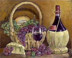Decorative glass Wine tile-Chianti with Goodies-Art Glass Backsplash Wine And Canvas, Coloring Book Art, Cork Art, Vides, Wine Decor, Decoupage Vintage, Wine Art, Tile Murals, Bottle Painting