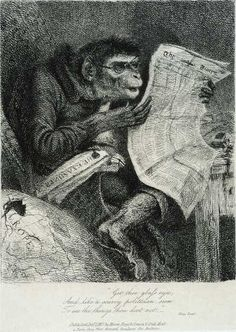 """A satiric caricature by Thomas Landseer (1795-1880), captioned with the Shakespeare quotation """"...get thee glass eyes; And like a scurvy politician seem to see the things that thou dost not.""""  -- King Lear. Act 4, Scene 6"""