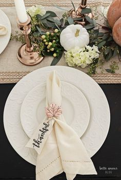 Elegant Copper & Gold Thanksgiving Tablescape