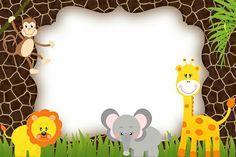 Risultati immagini per invitaciones de safari Spongebob Birthday Party, Jungle Theme Birthday, Jungle Theme Parties, Jungle Party, Animal Birthday, Safari Party, Safari Theme, Baby Shower Themes, Baby Boy Shower