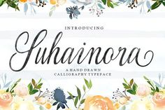 #Ad - Suhainora by Picatype on @creativemarket - Suhainora Script is a hand drown calligraphy font, organic, dynamic and energetic sytle.Can used for various purposes. such as the title, signature, logo, correspondence, wedding invitations, letterhead, signage, labels, newsletters, posters, badges, etc.