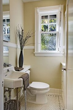 Traditional Powder Room with Chair rail, Standard height, Pedestal sink, penny tile floors, Powder room, Casement, Paint 1