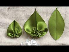 Cách làm lá đơn giản từ ruy băng [Ribbon Embroidery] - Como hacer una flor de organza, fácil y bonita. Satin Ribbon Flowers, Ribbon Art, Diy Ribbon, Ribbon Crafts, Fabric Flowers, Ribbon Embroidery Tutorial, Fabric Flower Tutorial, Silk Ribbon Embroidery, Embroidery Patterns