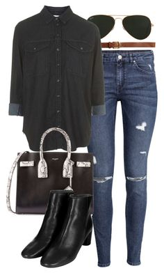 """""""Untitled #627"""" by paradise-101 ❤ liked on Polyvore featuring H&M, Ray-Ban, Topshop and Yves Saint Laurent"""