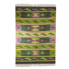 Wool dhurrie rug (4x6) - Tribal Jade | NOVICA