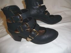 Matty's Womens Rodger black sz 7 m Man-Made Boots ankle strappy buckles #Mattys #AnkleBoots