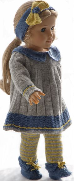 American doll knit patterns - An outfit especially for your doll, created in France African American Dolls, American Doll Clothes, Girl Doll Clothes, Doll Clothes Patterns, Doll Patterns, Clothing Patterns, Girl Dolls, Knitting Dolls Clothes, Barbie Dolls