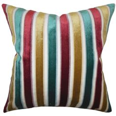 Alton Teal/ goldtonetone Stripes 18-inch Feather and Down Filled Decorative Throw Pillow