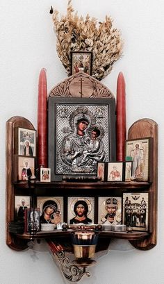"Home altar.the Matchmaker leads couples to an altar devoted to knitting to ""stitch"" them together for life Religious Icons, Religious Art, Religion, Catholic Altar, Catholic Relics, Pagan Altar, Prayer Corner, Spiritus, Orthodox Christianity"