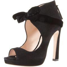 Miu Miu Velvet-Bow Victorian Pump (525 PAB) ❤ liked on Polyvore featuring shoes, pumps, heels, black, scarpe, women, miu miu shoes, black heeled shoes, black velvet shoes and black heel pumps