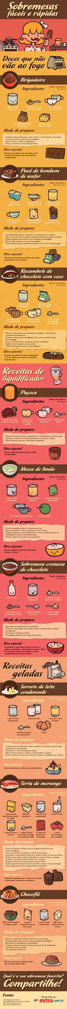 Aprenda diversas receitas de sobremesas deliciosas! Tem brigadeiro, pavê de wafer, torta de morango e muito mais! Leia, prepare e experimente!